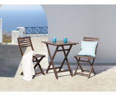 Table et 2 chaises de jardin en bois brun - Fiji