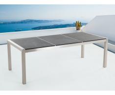 Table de jardin acier inox - plateau granit triple 220 cm noir flambé - Grosseto