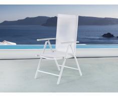 Chaise de jardin en aluminium - Tissu blanc - Catania