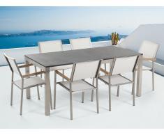 Table de jardin acier inox - plateau simple en granit 180 cm avec 6 chaises en textile blanc - Grosseto