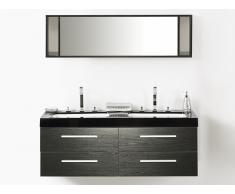 Meuble double vasque à tiroirs - miroir inclus - noir - Malaga