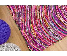 Tapis rectangulaire - tapis en coton et polyester multicolore - 80x150 cm - Kesan