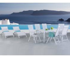 Table de jardin aluminium en blanc - 6 chaises, 2 transats - plateau en verre 160 cm - Catania