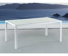 Table de jardin aluminium - Plateau en verre blanc 160 cm - Catania