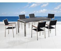 Table de jardin acier inox - plateau granit triple noir flambé 180 cm avec 6 chaises en textile - Grosseto
