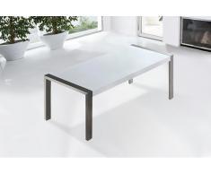 Table de salle à manger - table de cuisine - acier inox et plateau blanc - 220 cm - Arctic I