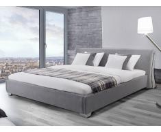 Lit design en tissu - lit double 180x200 cm - sommier inclus - Paris - gris