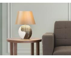 Lampe à poser - lampe de salon, de chevet, de bureau - beige et cuivre - Esla