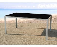 Table de jardin aluminium - plateau en verre 160 cm - Catania