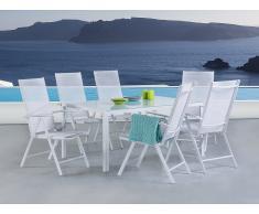 Ensemble de jardin aluminium - blanc - 6 chaises - Table 160 cm - Catania