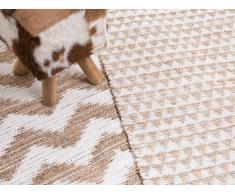 Tapis - fait main - polyester - beige - 80x150 cm - Tunceli