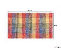 Tapis rectangulaire en coton - Tapis multicolore 80x150 cm - carreaux - Samsun