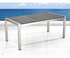 Table de jardin acier inox - plateau granit triple 180 cm gris poli - Grosseto