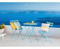 Ensemble table et 2 chaises de jardin en acier bleu - Fiori