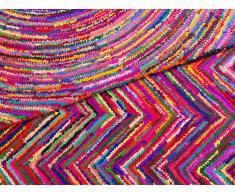 Tapis rectangulaire en coton et polyester - multicolore - 80x150 cm - Karasu