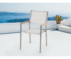 Chaise de jardin - acier inox et textile blanc - Grosseto