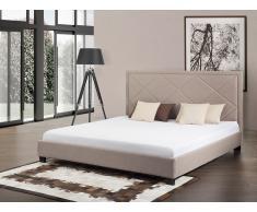 Lit en tissu - lit double 180x200 cm - sommier inclus - Marseille - beige
