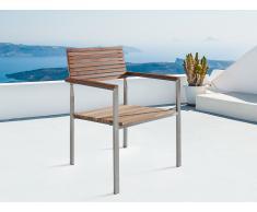 Chaise de jardin - acier inox et teck - Viareggio