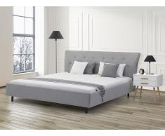 Lit en tissu - lit double 160x200 cm - sommier inclus - Saverne - gris clair