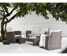 Ensemble de jardin - Table, Chaises et Fauteuil - Rotin - Luca