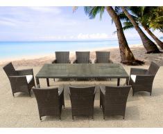 Table de jardin en rotin 220 cm - 8 chaises en rotin - coussins beiges - Italy