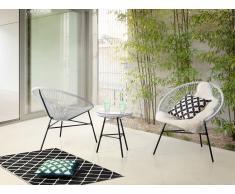 Table et 2 fauteuils de jardin 'Spaghetti' - cordage blanc - Acapulco