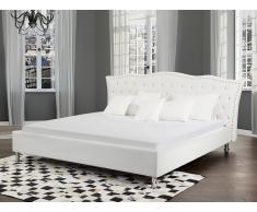 Lit design en cuir - lit double 180x200 cm - Metz - sommier avec rangement inclus - blanc