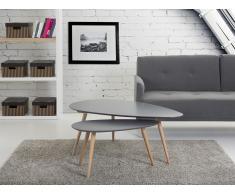 Tables basses - lot de 2 tables d`appoint - gris - tables de salon - Fly