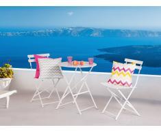 Table et 2 chaises de jardin en acier blanc - Fiori