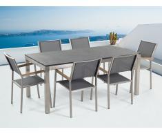 Table de jardin acier inox - plateau simple en granit noir flambé180 cm - 6 chaises en textile gris - Grosseto