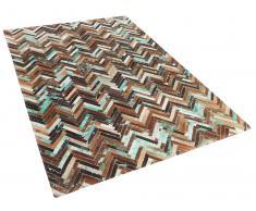 Tapis rectangulaire en cuir - brun beige bleu - patchwork - 80x150 cm - Amasya