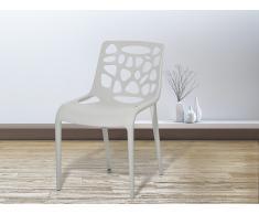 Chaise de jardin - Chaise en plastique gris clair - Morgan