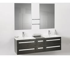 Meuble double vasque à tiroirs - miroir inclus - noir - Madrid