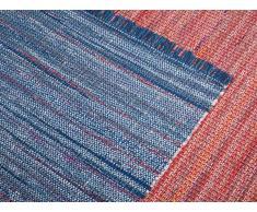 Tapis rectangulaire en coton - en tons rouges - 80x150 cm - bariolé - Besni