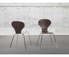 Chaise de salle à manger - siège design couleur bois foncé - Queens