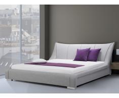 Lit design en tissu - lit double 180x200 cm - gris - sommier inclus - Nantes