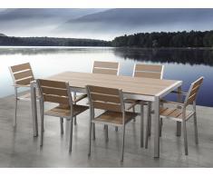 Table de jardin aluminium brun - plateau en polywood 180 cm et 6 chaises - Vernio