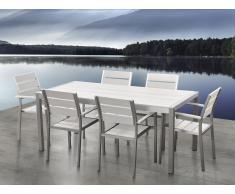 Table de jardin aluminium blanc - plateau en polywood 180 cm et 6 chaises - Vernio