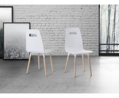 Chaise de salle à manger - chaise en caoutchouc blanc - Bovio
