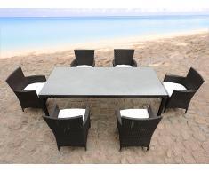 Table de jardin en rotin 160 cm - 6 chaises en rotin - coussins beiges - Italy