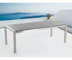 Table de jardin acier inox - plateau granit triple 220 cm gris poli - Grosseto