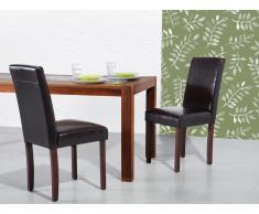 Chaise de salle à manger - chaise en cuir - brun - Broadway