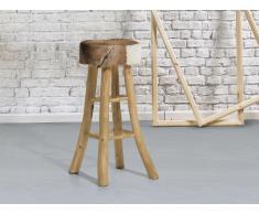 Tabouret - brun - siège - chaise - teck et peau d´agneau - Walton