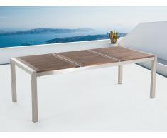 Table de jardin acier inox - plateau en bois - triple 220 cm - Grosseto