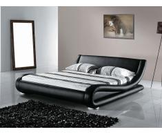 Lit design en cuir - lit double 160x200 cm - noir - sommier inclus - Avignon