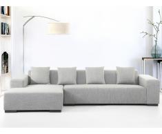 Canapé d'angle - canapé en tissu gris clair - Lungo (D)