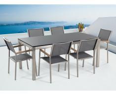 Table de jardin acier inox - plateau simple en granit noir poli 180 cm avec 6 chaises en textile gris - Grosseto