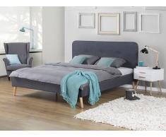 Lit en tissu - lit double 140x200 cm - gris - sommier inclus - Rennes