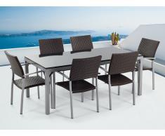 Ensemble de jardin - Table granit 180 cm et 6 chaises en rotin - noir poli - Torino