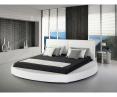 Lit design en cuir - lit rond 180x200 cm - blanc - sommier inclus - Laval